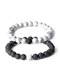AmorWing Long Distance Relationship Genuine Lava Stone Beads Mala Couple Bracelets Valentine's Day Gift