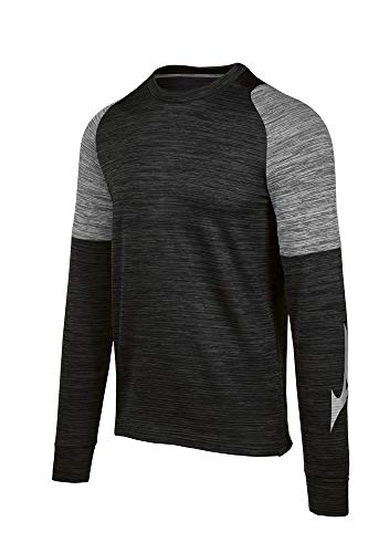 Mizuno Velocity Long Sleeve Crew, Black-Shade, Small
