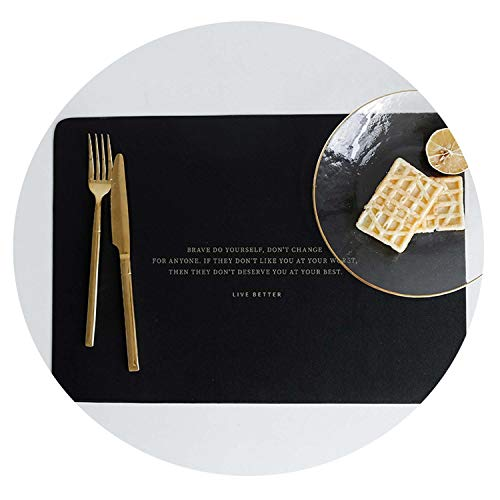 Nordic Rectangle English Letter Leather Waterproof Table Mat Anti Oil Placemat Home Kitchen Decor Tool for Dining Table Plates,Black (Shopping Joplin Mo)