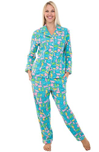Alexander Del Rossa Womens Flannel Pajamas, Long Cotton Pj Set, Large Colorful Cats Kittens (Skin Colorful Kittens)