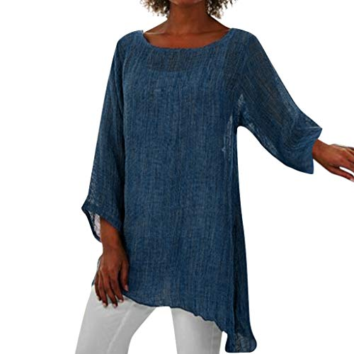DFHDSF Tunic Women Solid Plus Size Long Sleeve O-Neck Linen Blouse Shirt Tops(Blue,3XL) -
