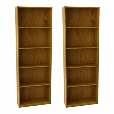 Ameriwood Set of 2 (Bundle) 5-shelf Bookcases. Choice of White, Black, Espresso, Ruby Red and Alder. Adjustable Shelves, Decorative and Contemporary. Harmonizes Well with Most Decor Styles. Use in Living Room, Family Room, Home Office, Work Office, or Any Room. (Alder)