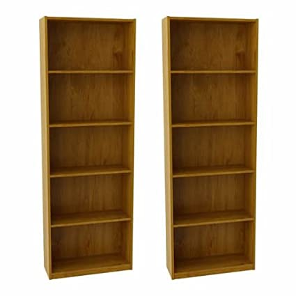 Ameriwood Set Of 2 (Bundle) 5 Shelf Bookcases. Choice Of White,