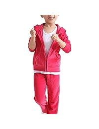 Monvecle Girls' Velour Zip Hoodies Long Tracksuit Sweatshirt Sweatpant Sets