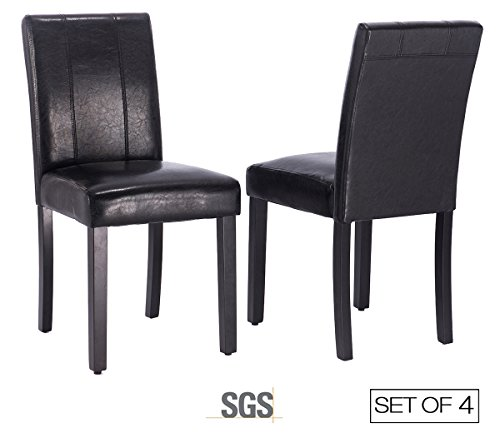 ZXBSWELE Set of 4 Parson Chair with Solid Wood Leg for Dining Room, Living Room, Kitchen, Leatherette, Black by ZXBSWELE