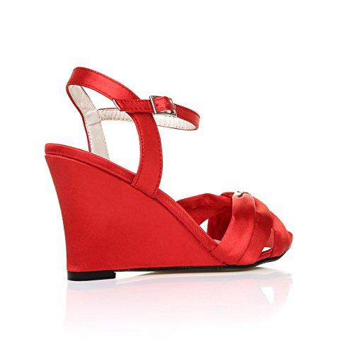 Ange Mariée Satin Talon De Chaussures Rouge Moulantes Haut De Coin UFqSwUgA