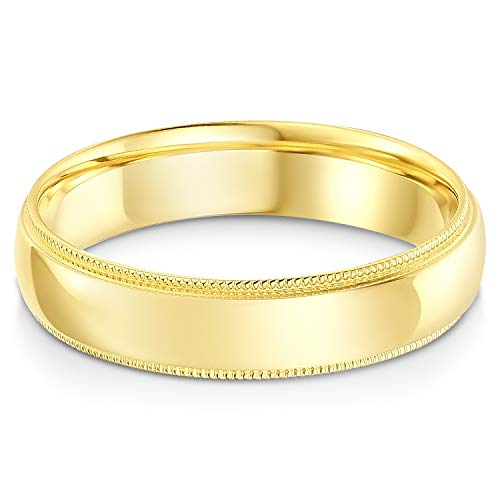Ioka - 14k Solid Yellow Gold 5mm Comfort Fit Milgrain Traditional Wedding Band Ring - size 9.5