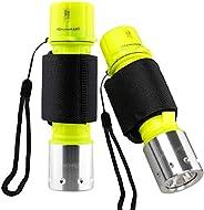Garberiel 2 Pack Scuba Diving Flashlight, Super Bright Dive Light 3 Modes Underwater Waterproof Torch for Scub
