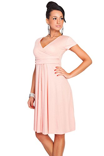Women's Vintage V-Neck Solid Color Summer Casual Midi Dress(Nude Pink,M) (Vintage Nude-damen)