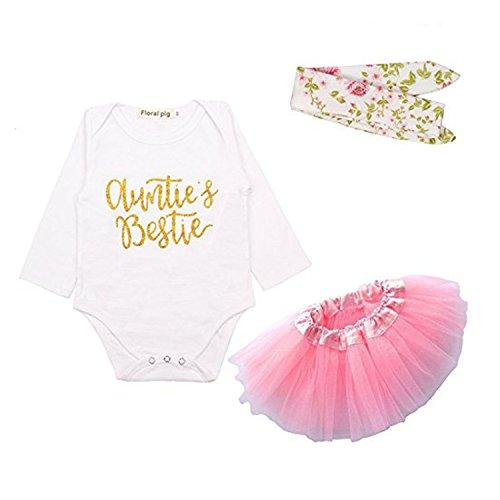 IU 3Pcs Newborn Baby Girls Aunties Bestie Romper+Headband+Tutu Skirt Long Sleeve Romper Clothes