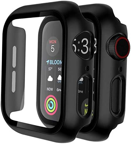 [2 Pack] Case for Apple Watch Series 6/SE/5/4 44mm Built-in 9H Tempered Glass Screen Protector, GROLEOA Hard PC Ultra-Thin Bumper HD Clear Film Full Coverage Protector Cover for iWatch 44mm – Black