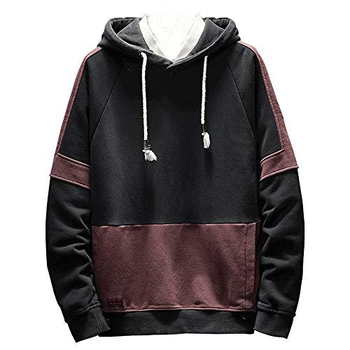 ◕‿◕ Toponly Mens Autum Long Sleeve Zipper Patchwork Hooded Sweatshirt Tops -