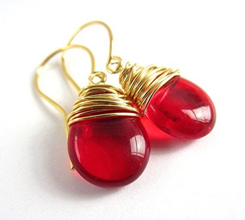 Red Earrings Gold Tone Wire Wrapped Czech Glass Earrings Gold Tone -