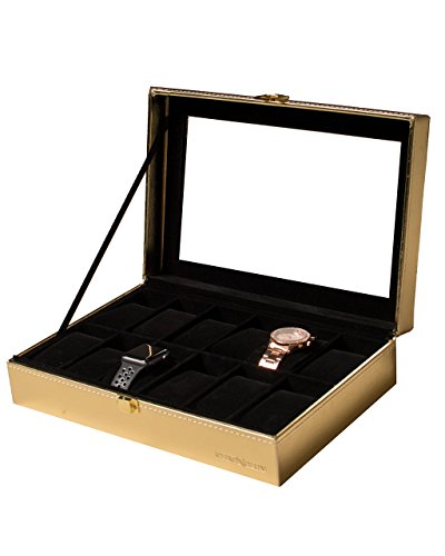Chronolux Gold Watch Box for Men and Women – 12 Slot Luxury Watch, Bracelet, and Jewelry Organizer Storage Valet Case w/ Real Glass Display, Gift Box Included (Rectangular Gold Bracelets)