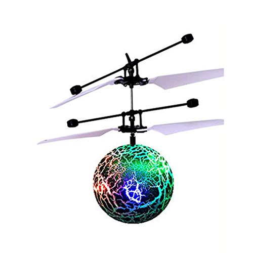 Price comparison product image Flying Ball Toy, RC Flying Ball Drone Helicopter Ball Built-in Shinning LED Lighting for Teenagers Colorful Flyings Kids Toy by Dacawin (Green)
