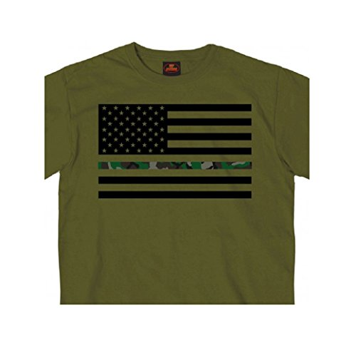 Hot Leathers Thin Line Camo American Flag T-Shirt (Large)