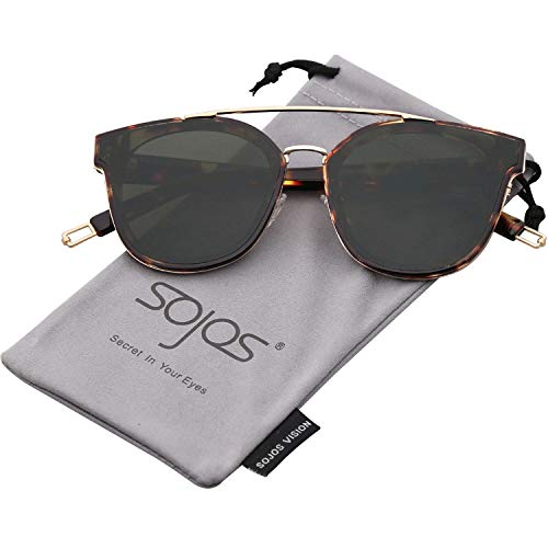 SOJOS Fashion Square Oversized Sunglasses for Women Mirrored Lens SJ2038 with Gold Rim/G15 Lens ()