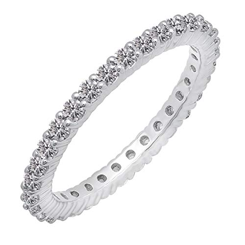 (1.00 Carat (ctw) 14K White Gold Round Lab Grown Diamond Ladies Eternity Ring Wedding Band 1 CT (Size 7))