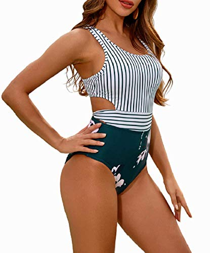 MOLYBELL Women's Lilies Striped Print One Piece Tank Top Swimsuit Cut Out Zip Up Monokini Swimwear (White, Large)