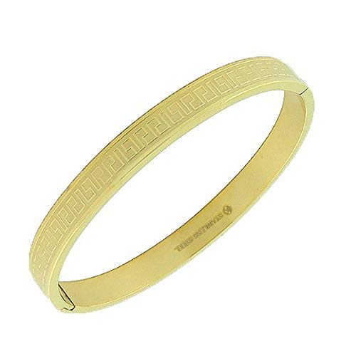 My Daily Styles Stainless Steel Yellow Gold-Tone Greek Key Handcuff Bangle Bracelet