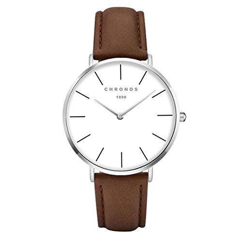Simple Women Men Quartz Watch PU Leather Strap Ladies Gentlemen Dress WristWatch, Brown-Silver