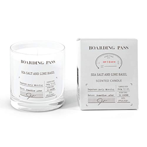 Boarding Pass Soy Candle, Burn in The Morning, Basil Sea Salt Lime Scented Candle, Clear, 8.5oz
