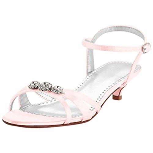 Dyeable Satin Low Heel Sandal with Rhinestones Style ELENA Petal eNcTk