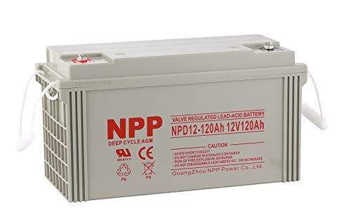 NPPower NPD12-120Ah Rechargeable AGM Deep Cycle 12V 120Ah Battery with Button Style Terminals
