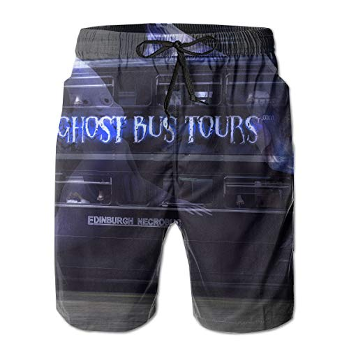 HFSST Cool Halloween Ghost Tour Bus Men Kid Male Summer Swimming Pockets Trunks Beachwear Asual Shorts Pants Mesh ()