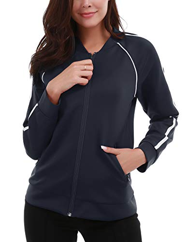 FISOUL Women's Lightweight Full Zip Running Sport Jacket Slim Fit Workout Track Jacket Zipper Pockets Navy Blue M ()