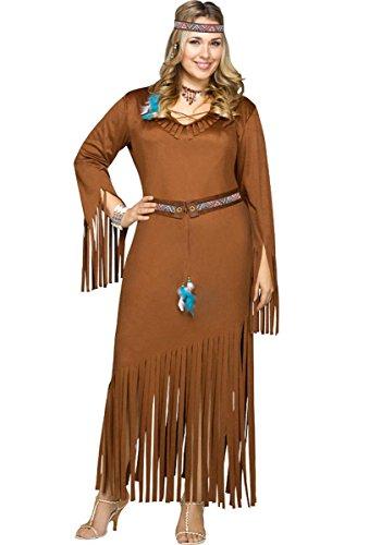 Fun World Women's Plus Size Indian Summer Costume, Brown, X-Large