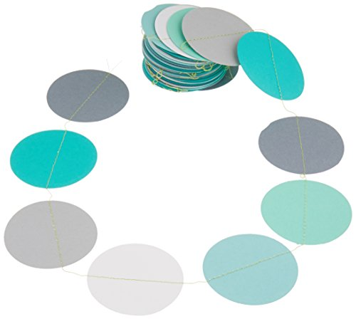 Teal white and gray paper garland, Heart garland, Wedding decoration, bridal shower, Birthday party decor, Paper circle (Teal Circle)