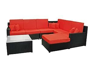 8piezas negro resina mimbre al aire libre muebles seccional sofá, mesa y otomana–Juego de cojines de color rojo