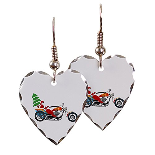 Earring Heart Charm Holiday Biker Santa on his Motorcycle / Chopper