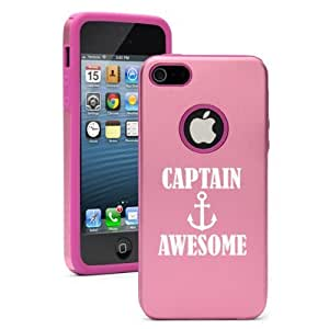 iPhone 5 5s Aluminum & Silicone Hard Case Cover Captain Awesome Anchor (Pink) by heywan
