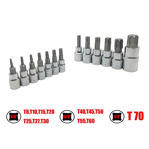 Mainpoint Star Torx Bit Socket Set 13 Pieces T8 - T70 CRV 1/2'' 3/8'' 1/4'' Drive by Mainpoint (Image #3)