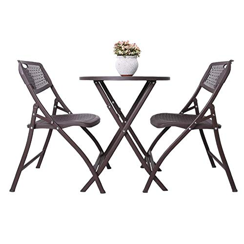 Living Room Furniture 3 Piece Bistro Set Folding Tables Outdoor Chair Patio Steel Round Table Stackable Chairs CJC (Color : 1 Table+2 Chairs) ()