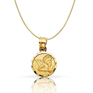 14K Yellow Gold Angel Religious Charm Pendant with 0.5mm Box Chain Necklace