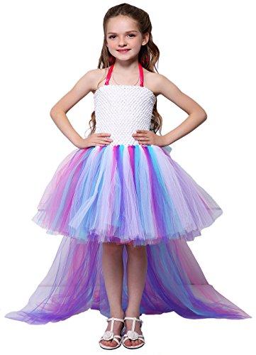 Tutu Dreams Flower Girl Unicorn Tutu Dress Kids Rainbow Fluffy Long Train Dresses Birthday Wedding (6,Pony) -