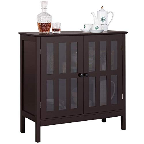 Yaheetech Storage Sideboard Buffet, Wooden Storage Cabinet Cupboard with Glass Door for Home Kitchen Hallway Dining Room, Console Table Server Display, Brown
