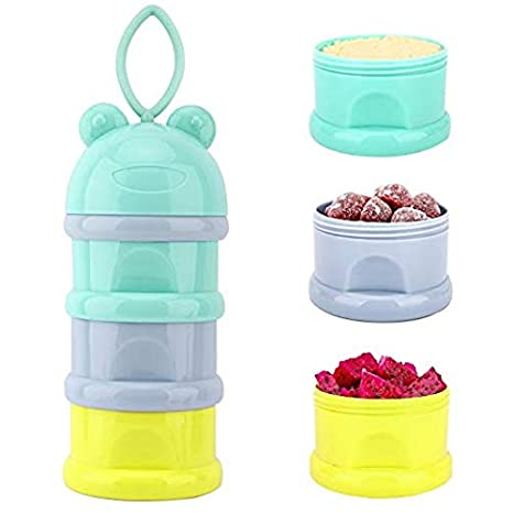 BPA Free Light Color Zooawa Baby Formula Dispenser 3 Compartment Non-Spill Stackable Milk Powder Formula Container and Snack Storage for Travel