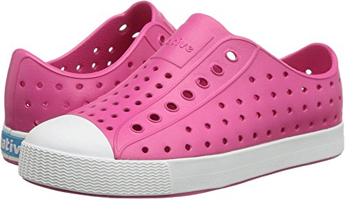 Junior Girl Casual Shoes - Native girls Jefferson Junior Water Proof Shoes, Hollywood Pink/Shell White, 2 Medium US  Kid
