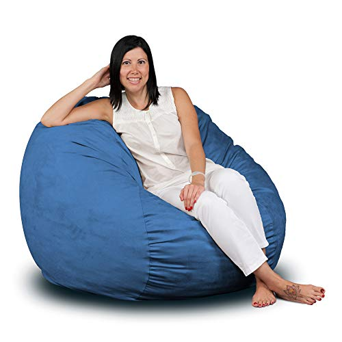 FUGU Bean Bag Chair, Premium Foam Filled 3 XL, Protective Liner Plus Removable Machine Wash Sky Blue Cover