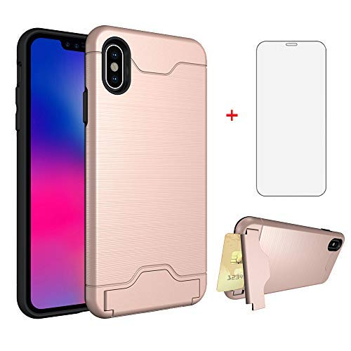 Phone Case for Apple iPhone Xs Max 6.5 inch 2018 with Tempered Glass Screen Protector Cover Cell Accessories and Credit Card Holder Wallet Stand i X XR Max SX XS 10xs 10s 10 Plus Xmaxs Cs Xmax Cases