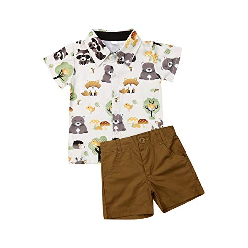 Boy Flamingo Short Sleeve Button Down Shirt & Pink Shorts Pants Kids Summer Outfits 1-6 T Clothes Set (Raccoon&Bear, 12-18Months) -