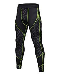 Panegy Men's Compression Pants Base Layer Cool Dry Cycling Yoga Spots Leggings