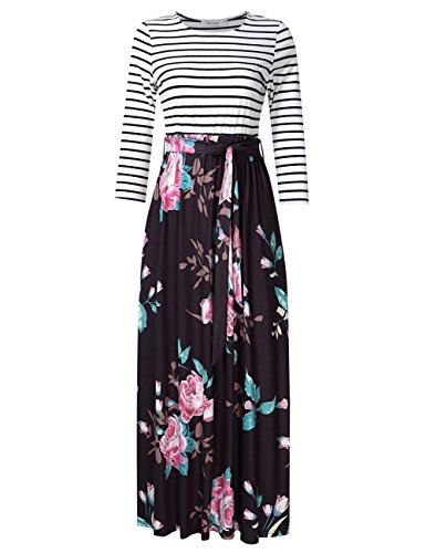 3/4 sleeve black maxi dress - 3