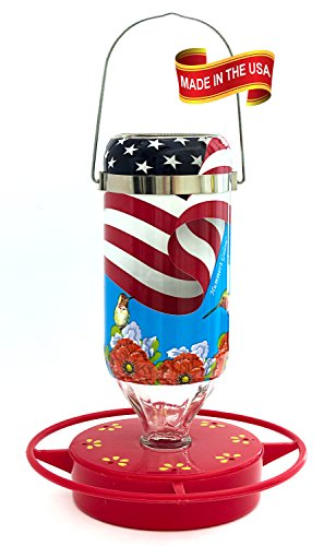 Plastic Feeder Base - Hummer's Galore All American Flag 16 oz Glass Hummingbird Feeder