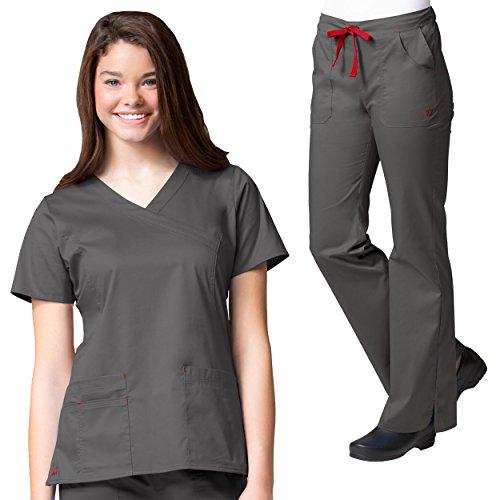 Maevn Blossom Y-Neck Seam Scrub Top & Multi Pocket Flare Leg Scrub Pant Set [XS - (Four Pocket Flare Leg Scrub)