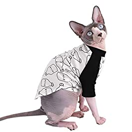 Sphynx Hairless Cat Cute Breathable Summer Cotton T-Shirts Milk Bottle Pattern Pet Clothes,Round Collar Vest Kitten Shirts Sleeveless, Cats & Small Dogs Apparel